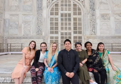 Students at the Taj Mahal in January 2020
